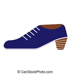 Blue shoe flat illustration on white