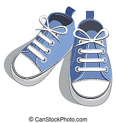 Pair of blue shoes on a white background