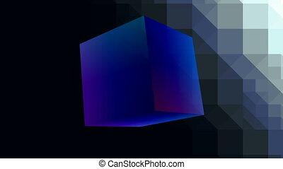 Blue shone cube - The blue shone cube slowly rotates on a...