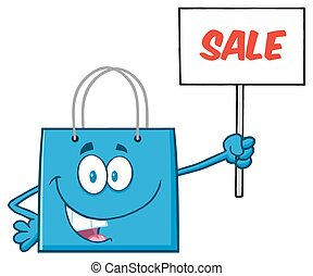Blue Shopping Bag Character