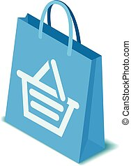 Blue shopping bag icon, isometric style