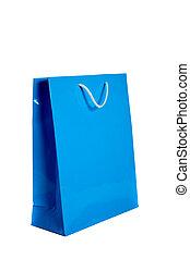 Blue shopping bag on white