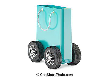 blue shopping bag with wheels, delivery concept. 3D rendering