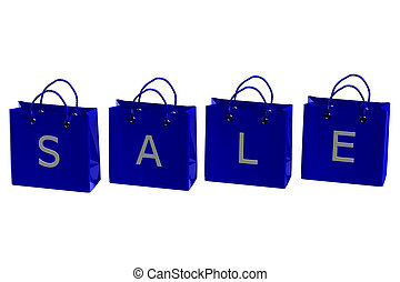 Blue shopping bags with word sale. 3D rendering.