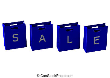Blue shopping bags with word sale