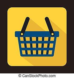 Blue shopping basket icon, flat style