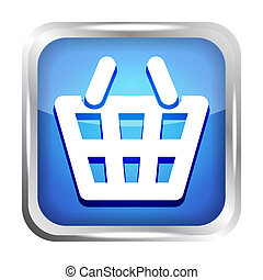 Blue shopping basket icon on a whit