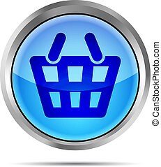 Blue shopping basket icon on white