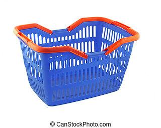 blue shopping basket on white background
