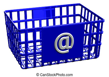 Blue shopping basket with sign @
