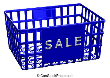Blue shopping basket with word sale