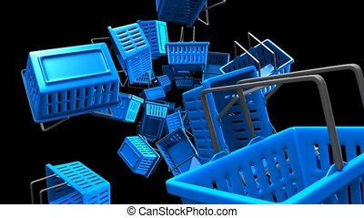 Blue Shopping baskets on black background. Loop able 3D...