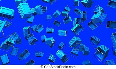 Blue shopping baskets on blue background. Loop able 3D...