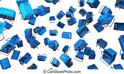 Blue shopping baskets on white background. Loop able 3D...
