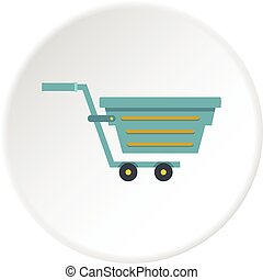 Blue shopping cart icon circle