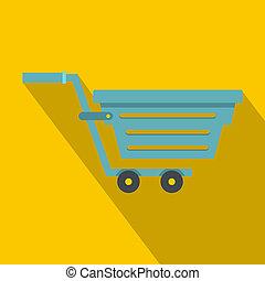 Blue shopping cart icon, flat style