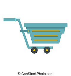 Blue shopping cart icon isolated