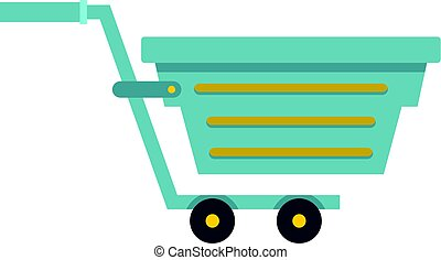 Blue shopping cart icon isolated