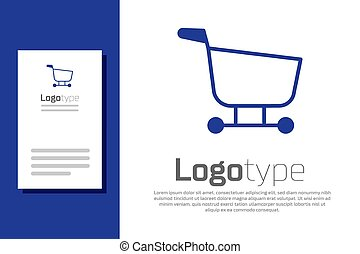 Blue Shopping cart icon isolated on white background. Food store, supermarket. Logo design template element. Vector Illustration