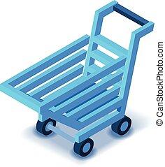 Blue shopping cart icon, isometric style