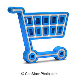 Blue shopping cart icon on a white background