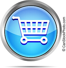 blue shopping cart icon on a white