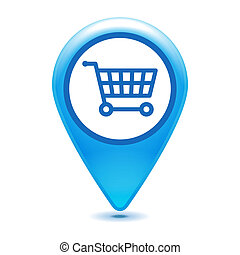 blue shopping cart pointer on a white background