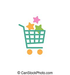 blue shopping cart with stars. simple icon isolated on white background.