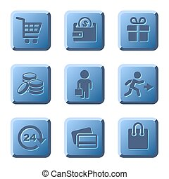 Blue Shopping Icons Set. Vector