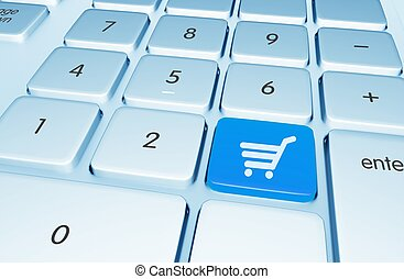 Shopping Online Button - Blue Shopping Online Button on the ...
