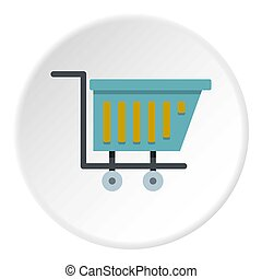 Blue shopping trolley icon circle