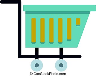 Blue shopping trolley icon isolated