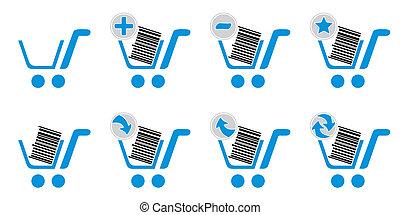 Blue shopping web icons set