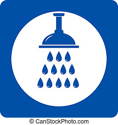 blue shower head icon with water drops
