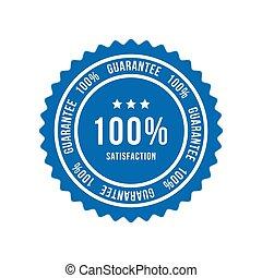 Blue sign 100 percent satisfaction guarantee. Flat vector illustration EPS 10