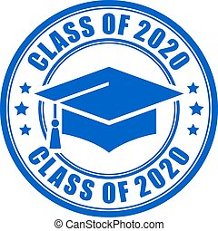 Blue sign class of 2020 year, vector illustration