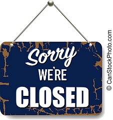 Blue Sign Closed Isolated Background