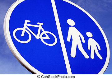 sign for cycling and walking path