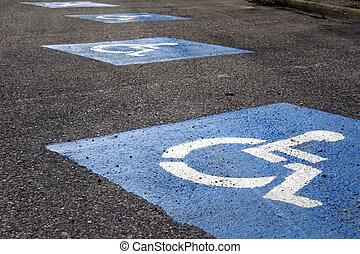 sign - parking lot for wheelchair - blue sign - parking lot...