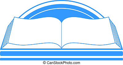 blue sign with book and sun, library symbol