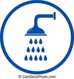 blue sign with shower head in round frame