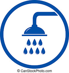 blue sign with shower head on white background