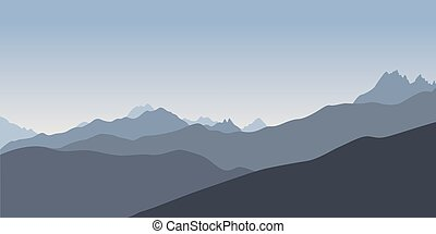 Blue silhoette of mountains - Simple blue silhoette of...