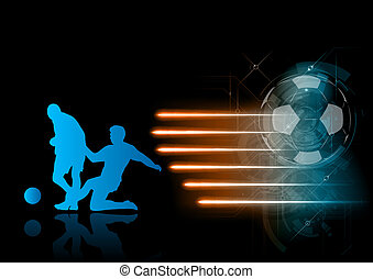 blue silhouett of soccer players with rays