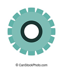 blue silhouette gear wheel icon vector illustration