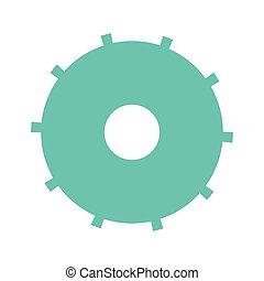 blue silhouette gear wheel icon