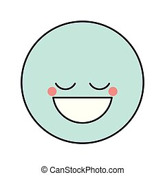 blue silhouette happy face male emoticon with eyes closed