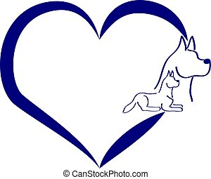 Blue silhouette of a dogs with heart on white background