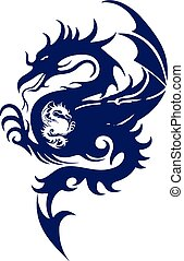 Blue silhouette of a fighting dragon, on white background,