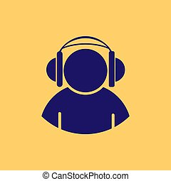 Blue silhouette of a man in headphones on yellow background